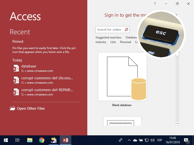 """How to repair files in MS Access using """"Compact and Repair"""