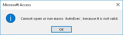 Error de Microsoft Access: Cannot open or run macro '...', because it is not valid