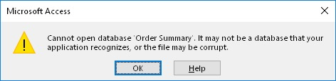 Error de Microsoft Access: Cannot open database. It may not be a database that your application recognizes, or the file may be corrupt.