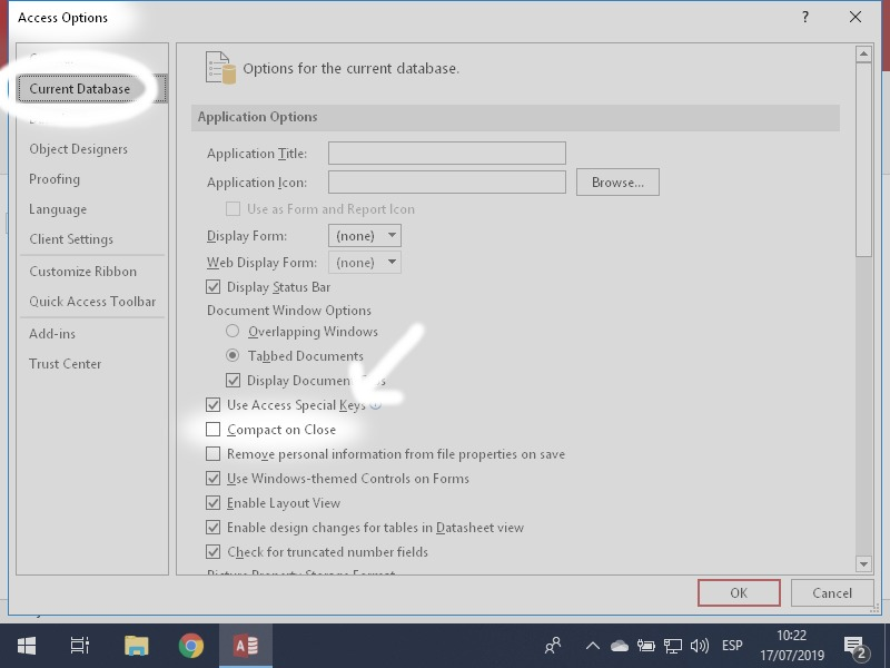 Microsoft Access Option: Access Options - Current Database - Compact on close