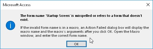 Error de Microsoft Access: The form name '...' is misspelled or referes to a form that doesn't exist.