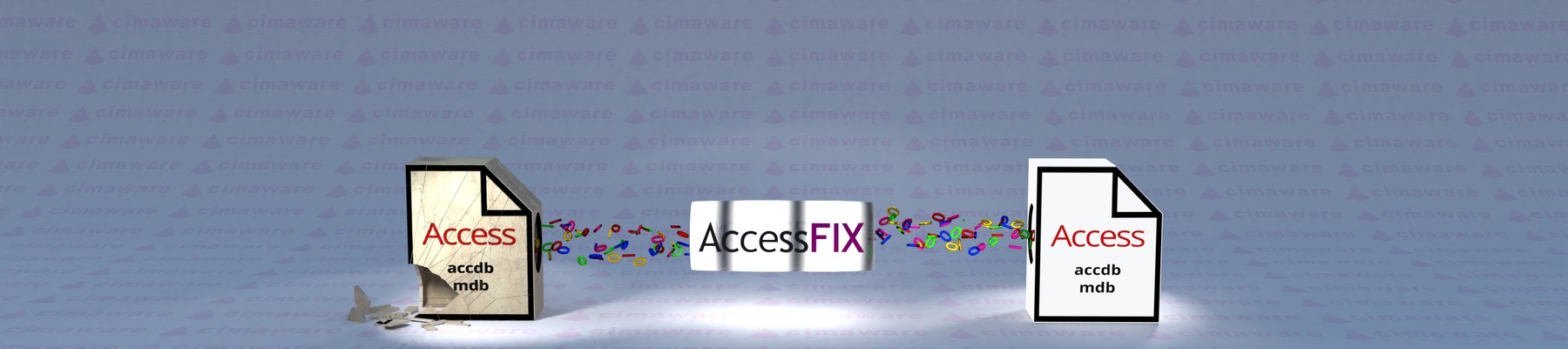 AccessFIX repairs corrupt Access database files by copying all undamaged content to a new error-free file.